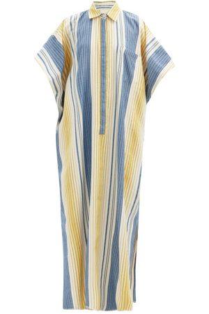 Marrakshi Life Point-collar Jacquard-stripe Cotton-blend Kaftan - Womens - Multi Stripe