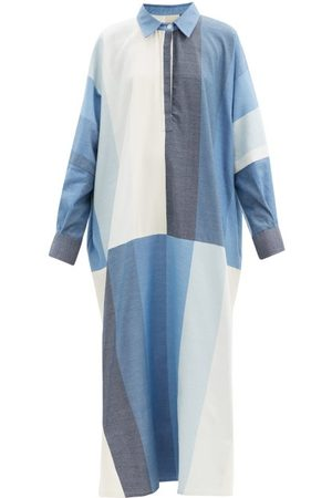 Marrakshi Life Point-collar Colour-block Cotton-blend Kaftan - Womens - Stripe