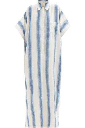 Marrakshi Life Point-collar Jacquard-stripe Cotton-blend Kaftan - Womens - Stripe