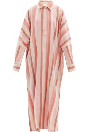 Marrakshi Life Striped Cotton-blend Tunic Shirt Dress - Womens - Stripe
