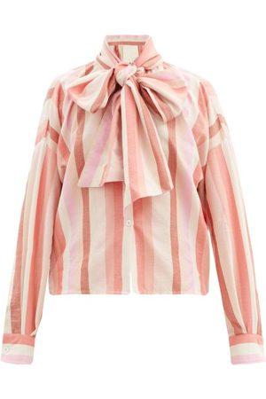 Marrakshi Life Bow-front Striped Cotton-blend Oxford Shirt - Womens - Stripe