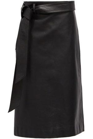 Balenciaga Wrap Leather Midi Skirt - Womens