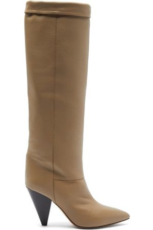 Isabel Marant Women Thigh High Boots - Loens Foldover-top Leather Knee-high Boots - Womens
