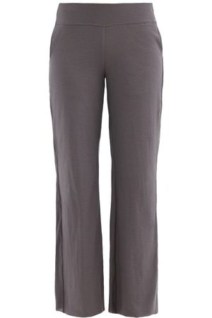 Lunya Cool High-rise Cotton-blend Jersey Trousers - Womens - Grey