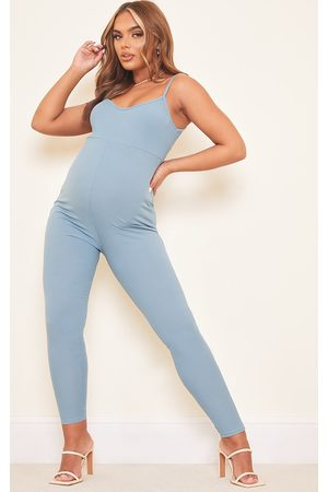 PRETTYLITTLETHING Maternity Steel Blue Ribbed Unitard