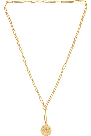 BRACHA Initial Medallion Lariat Necklace in Metallic .