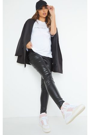 PRETTYLITTLETHING Maternity Faux Leather Over Bump Leggings