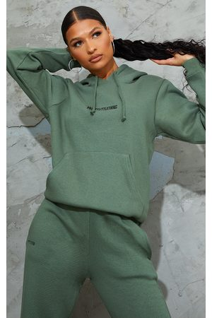 PRETTYLITTLETHING Women Hoodies - Sage Embroidered Oversized Lounge Hoodie