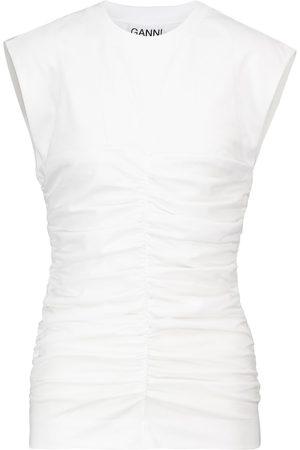 Ganni Gathered cotton jersey top