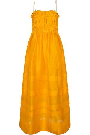 Lee Mathews Canary linen and silk maxi dress