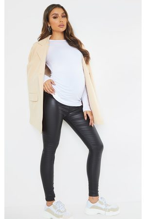 PRETTYLITTLETHING Maternity Coated Skinny Jeans