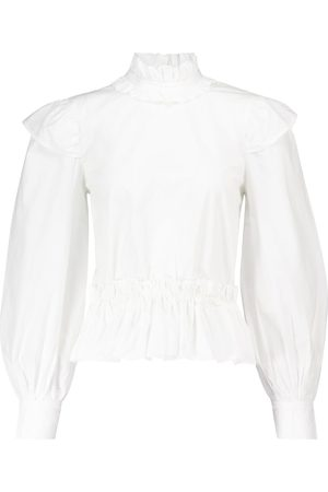 Ganni Ruffled cotton blouse