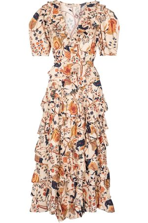 ULLA JOHNSON Aurora floral cotton midi dress