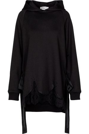 VALENTINO Lace-trimmed cotton-blend hoodie