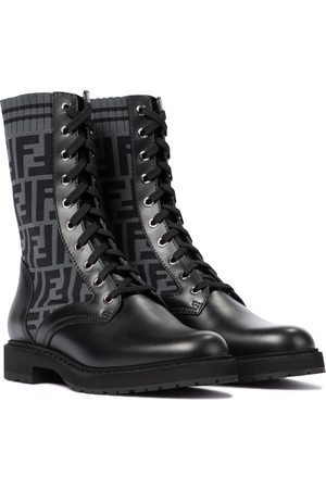 Fendi Rockoko FF leather-trimmed combat boots