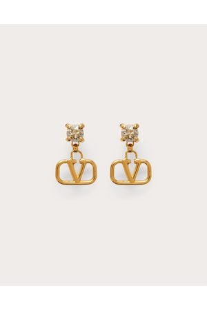 VALENTINO GARAVANI Women Earrings - Vlogo Signature Metal And Rhinestone Earrings Women Brass 100% OneSize