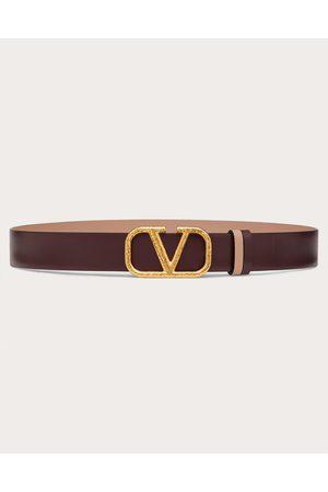 VALENTINO GARAVANI Reversible Vlogo Signature Belt In Grainy Calfskin 30 Mm Women Rubin/rose Canelle 100% Pelle Di Vitello - Bos Taurus 75