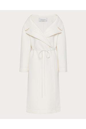 VALENTINO Compact Drap Coat Women Ivory Virgin Wool 95%, Cashmere 5% 36
