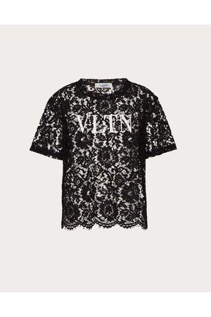 VALENTINO Vltn Lace T-shirt Women / Viscose 43%, Cotton 34% L