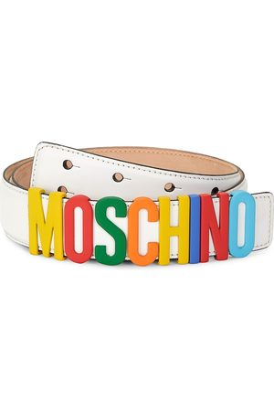 Moschino Men Belts - Men's Fantasy Leather Logo Belt - - Size 52 (36)