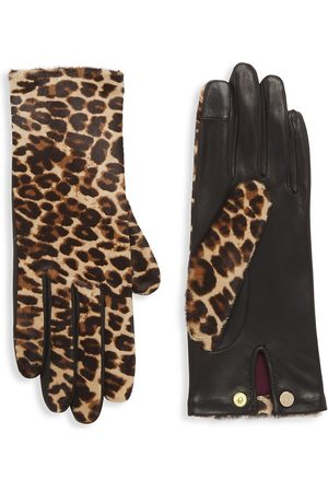 AGNELLE Women Hair Accessories - Women's Chloe -Print Calf Hair Gloves - - Size 8