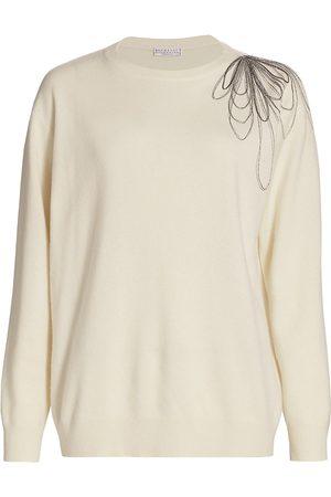 Brunello Cucinelli Women's Cashmere Stylized Monili Flower Pullover Sweater - - Size XL