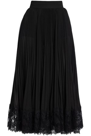 Dolce & Gabbana Women's Lace Trim Plissé Pleated Midi Skirt - - Size 46 (10)