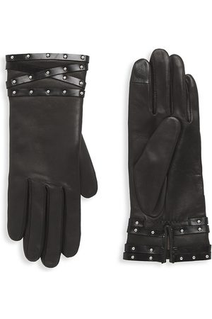 AGNELLE Women's Studded Band Leather Gloves - - Size 7