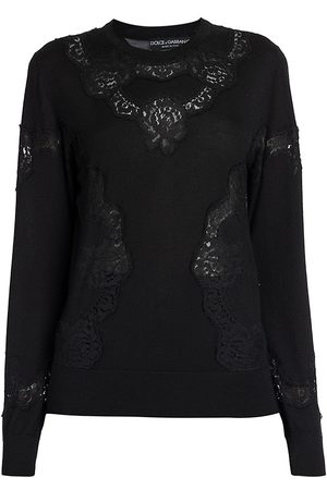 Dolce & Gabbana Women's Lace Inset Cashmere-Blend Pullover Sweater - - Size 52 (16)