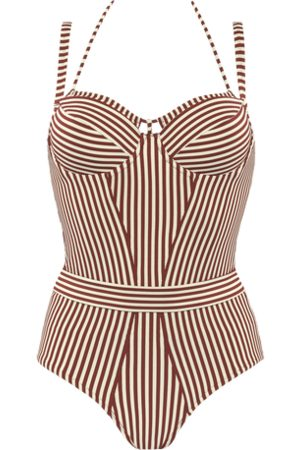 Marlies Dekkers Holi vintage plunge balcony bathing suit | wired padded red-ecru - 34D