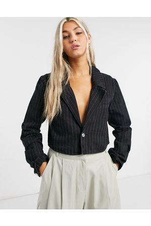 Weekday Verdin organic cotton pinstripe cropped boxy denim jacket in