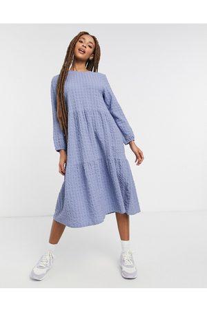 Monki Torkie organic cotton long sleeve midi dress in blue-Blues