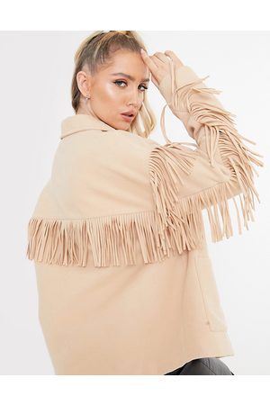 In The Style Plus x Megan McKenna fringed jacket in camel-Tan