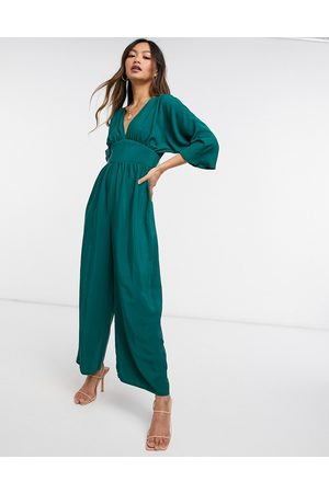 ASOS Kimono sleeve culotte jumpsuit in forest