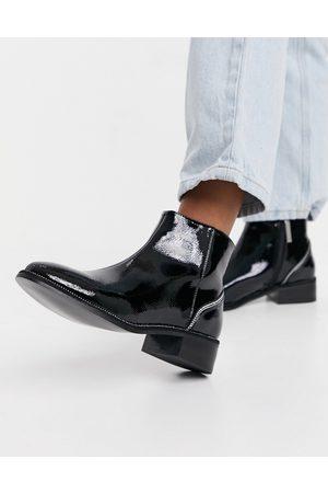 River Island Rhinestone heeled patent flat boots in