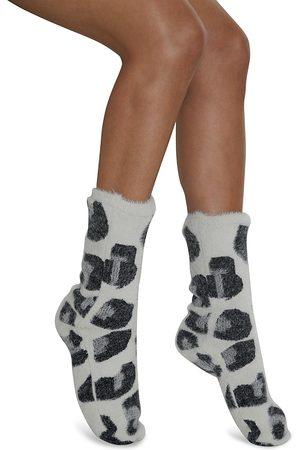 Cejoli Women Socks - Snow Leopard Faux Fur Slipper Socks