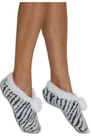 Cejoli Snow Zebra Faux Fur Slippers