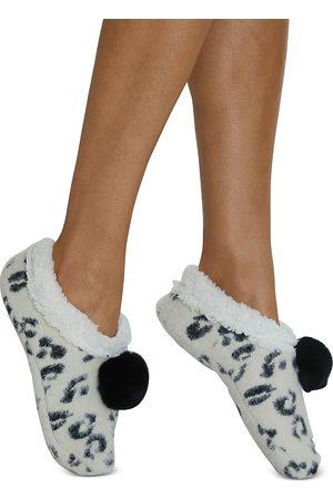 Cejoli Women Socks - Snow Leopard Faux Fur Slippers