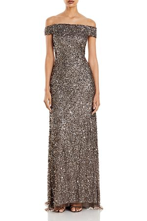 Adrianna Papell Women Strapless Dresses - Off-the-Shoulder Sequined Gown
