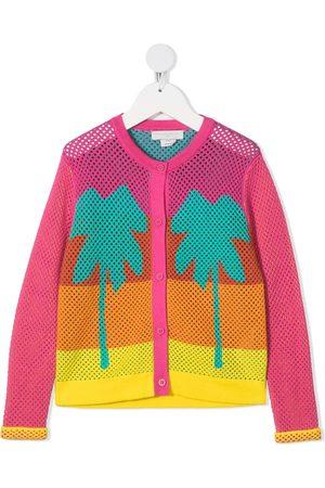 Stella McCartney Palm tree-print mesh-knit cardigan