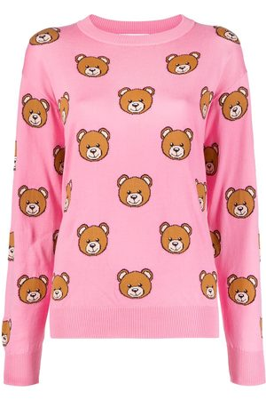 Moschino Women Sweaters - Teddy-pattern intarsia-knit jumper