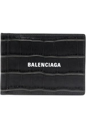 Balenciaga Croc-effect leather cardholder - Grey