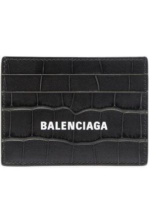 Balenciaga Croc-effect leather cardholder - Grey
