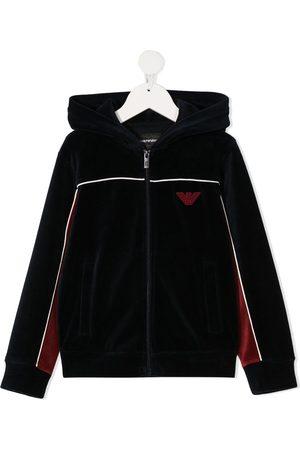 Emporio Armani Two-tone chenille hooded jacket