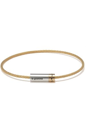 Le Gramme Bracelets - 18kt and silver 9g polished bicolor cable bracelet