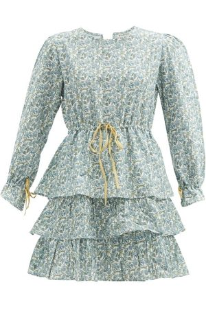 D'ASCOLI Women Printed Dresses - Zuzu Drawstring Floral-print Cotton-khadi Dress - Womens