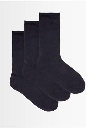 Raey Pack Of Three Roll-top Silk Socks - Womens - Navy