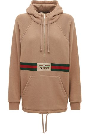 Gucci Women Hoodies - Logo Cotton Jersey Hoodie W/ Front Zip