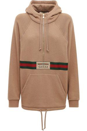 Gucci Women Hoodies - Logo Cotton Jersey Hoodie W/ Front Zip