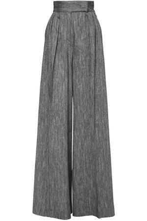 Max Mara High Waist Silk & Linen Wide Leg Pants